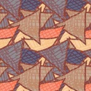 Big triangles blue striped with texture