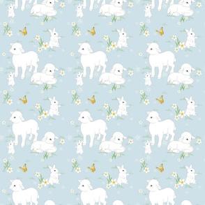Spring  Lambs Bunnys - Blue