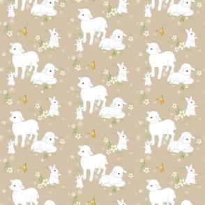 Spring Lambs and Bunnys - Brown