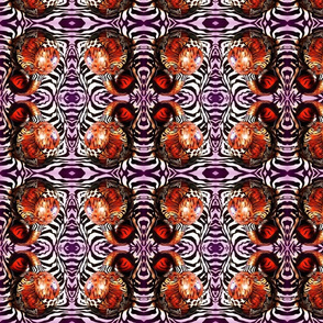 African Animal Gourd on Purple Zebra Background