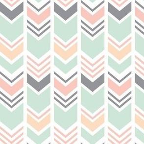 Chevron // Pink/Peach/Mint/Grey