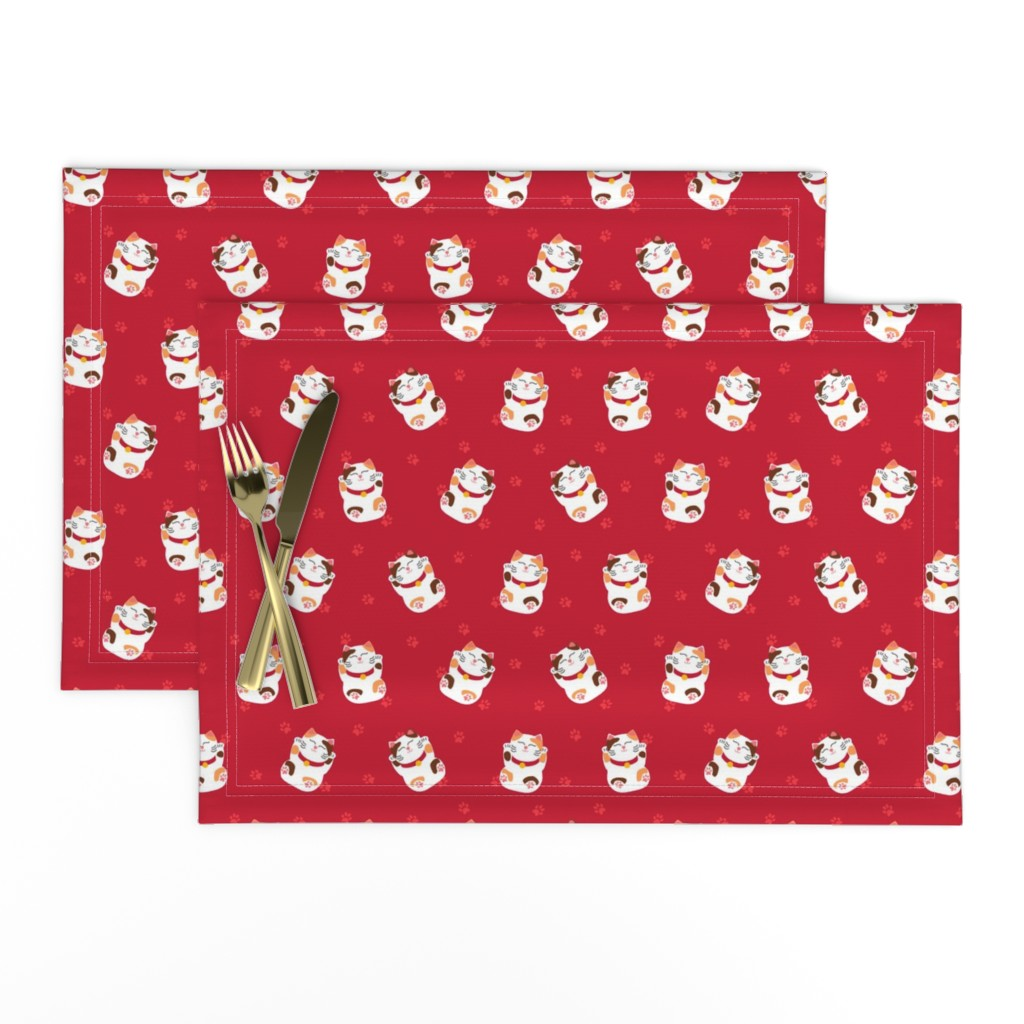 Lamona Cloth Placemats featuring Lazy Maneki Neko? by mariao
