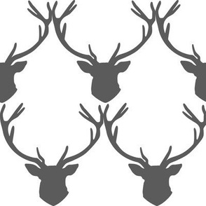 Gray Stag Head Deer Silhouette