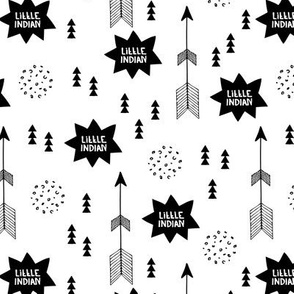 Cute indian summer black and white text balloon cartoon geometric arrows fabric