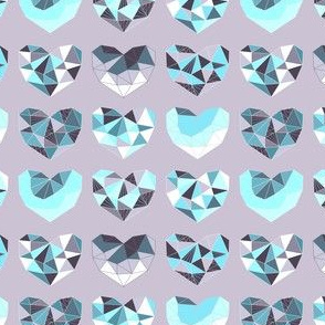 Geometric Hearts (violet & ice variant)
