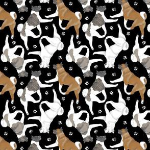 Trotting Akitas and paw prints - black