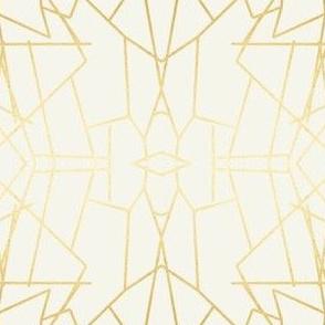 Geometric Angles Gold Cream Ivory Wallpaper