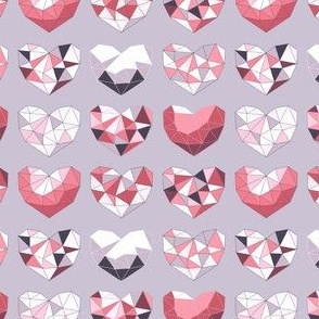 Geometric Hearts (rose & violet variant)