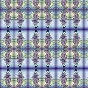 Geisha in purple/blue in mirror image
