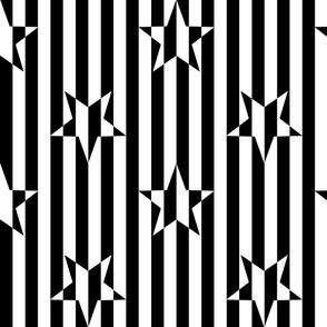 Stars and Stripes Black White