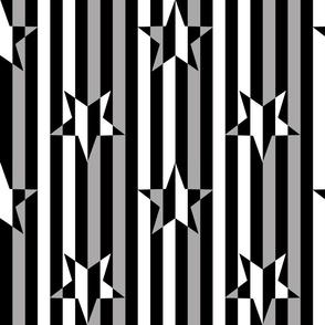 Stars and Stripes Black White Grey