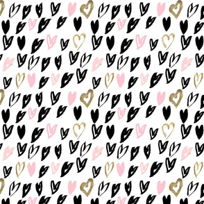 pattern of hand drawn hearts