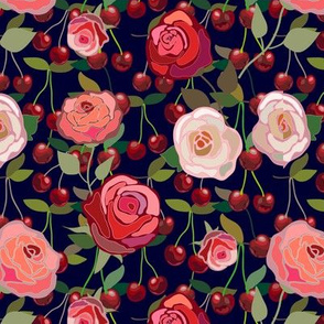 Roses and cherries pattern
