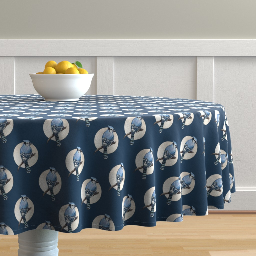 Malay Round Tablecloth featuring Blue jay by elena_naylor