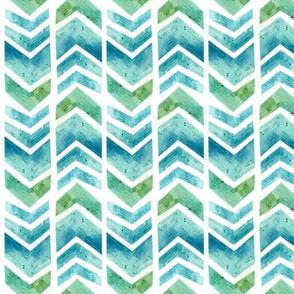 Watercolour Herringbone Geometric Pattern - blue green white