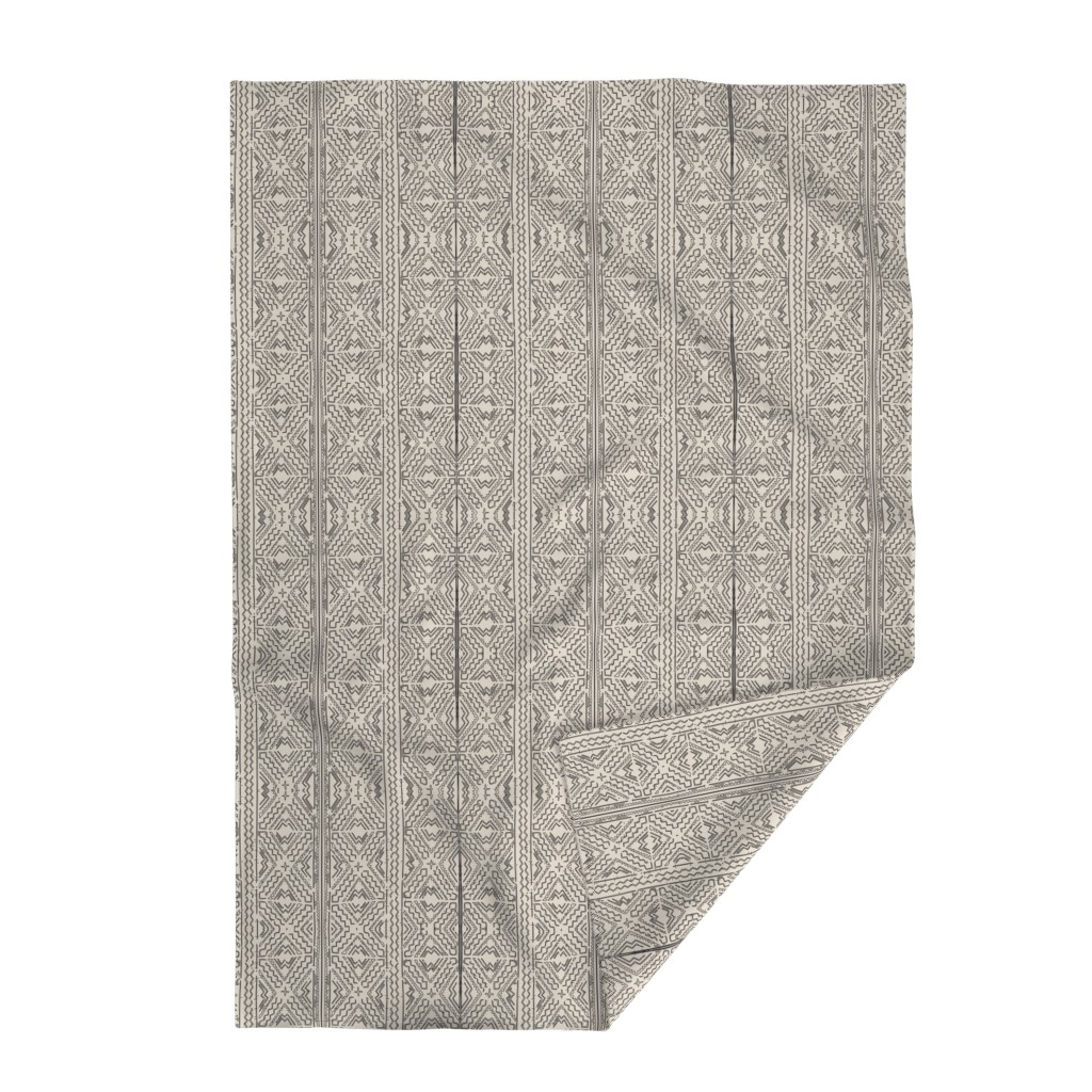 Lakenvelder Throw Blanket featuring African Mud cloth mudcloth black on beige by mlags