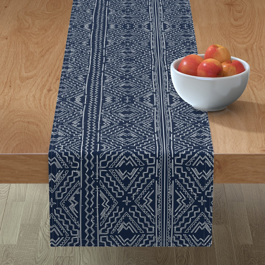 Minorca Table Runner featuring African mud cloth mudcloth tribal white on blue by mlags