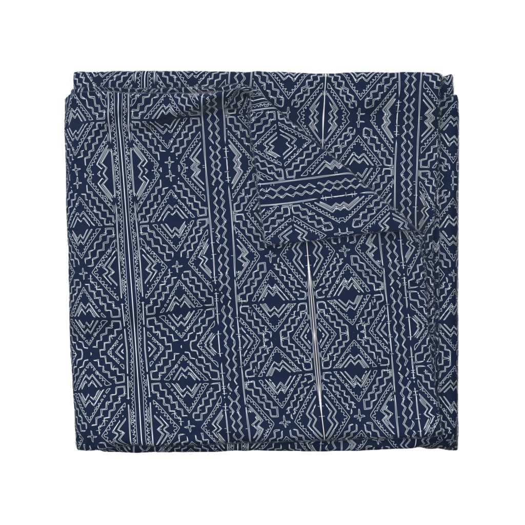 Wyandotte Duvet Cover featuring African mud cloth mudcloth tribal white on blue by jenlats