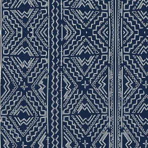 African mud cloth mudcloth tribal white on blue