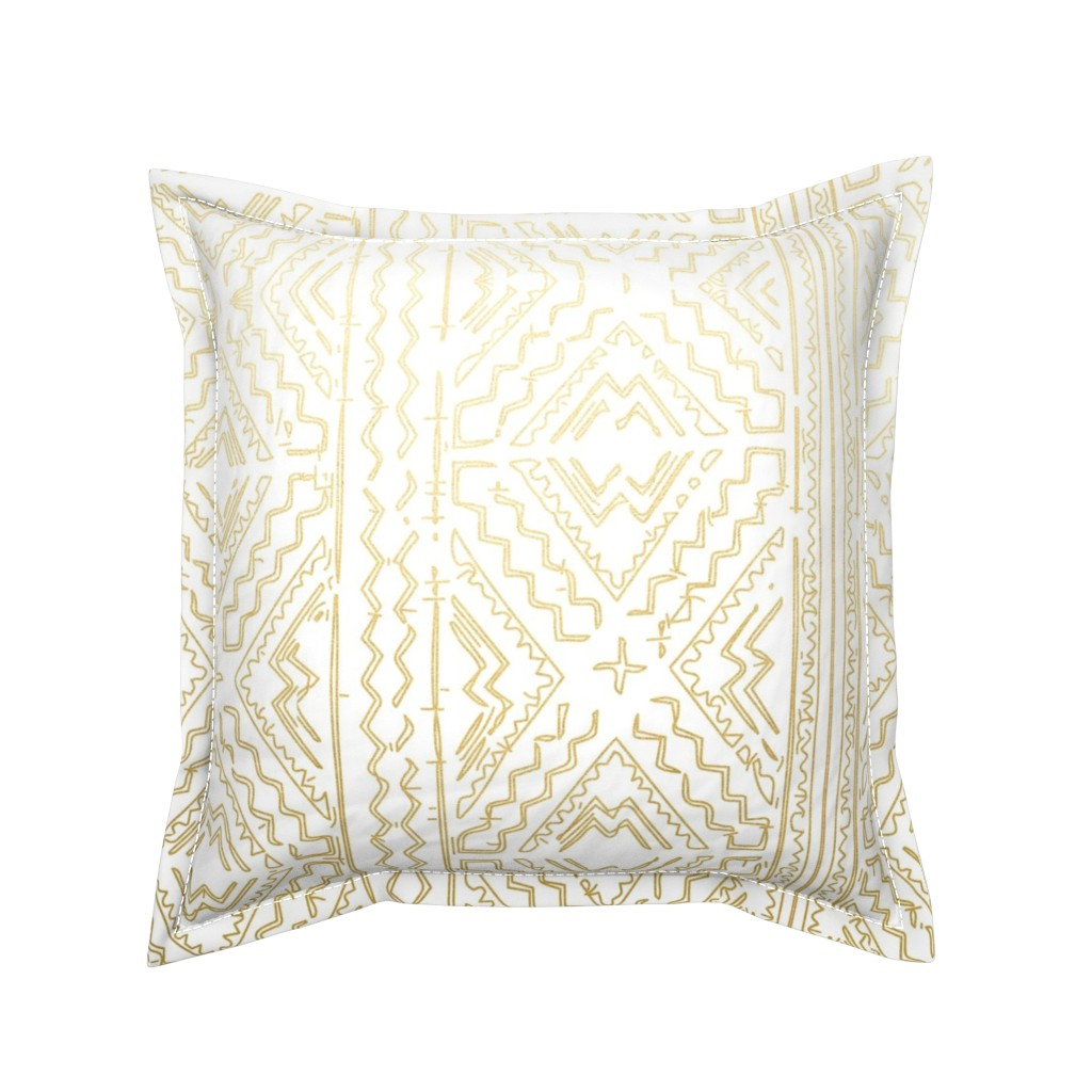 Serama Throw Pillow featuring Mud cloth in gold on white medium size by jenlats