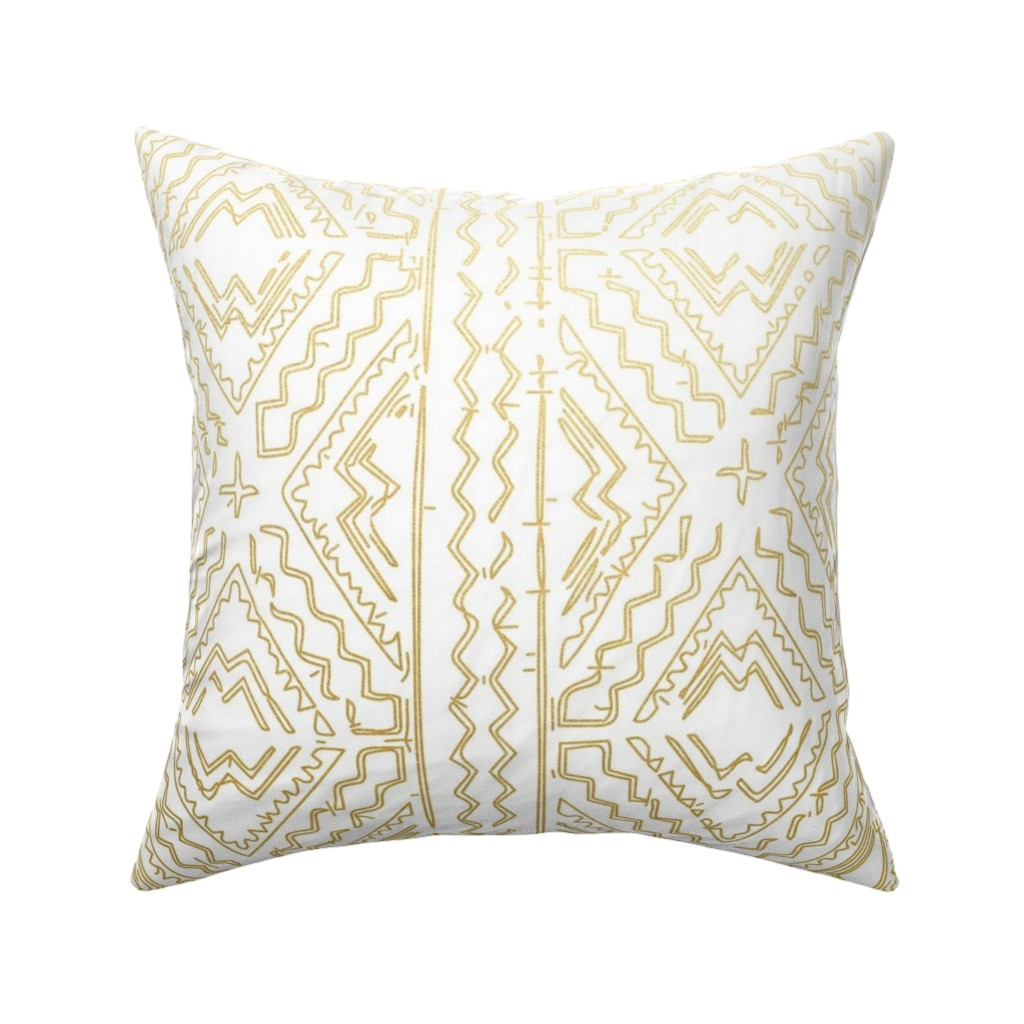Catalan Throw Pillow featuring Mud cloth in gold on white medium size by mlags