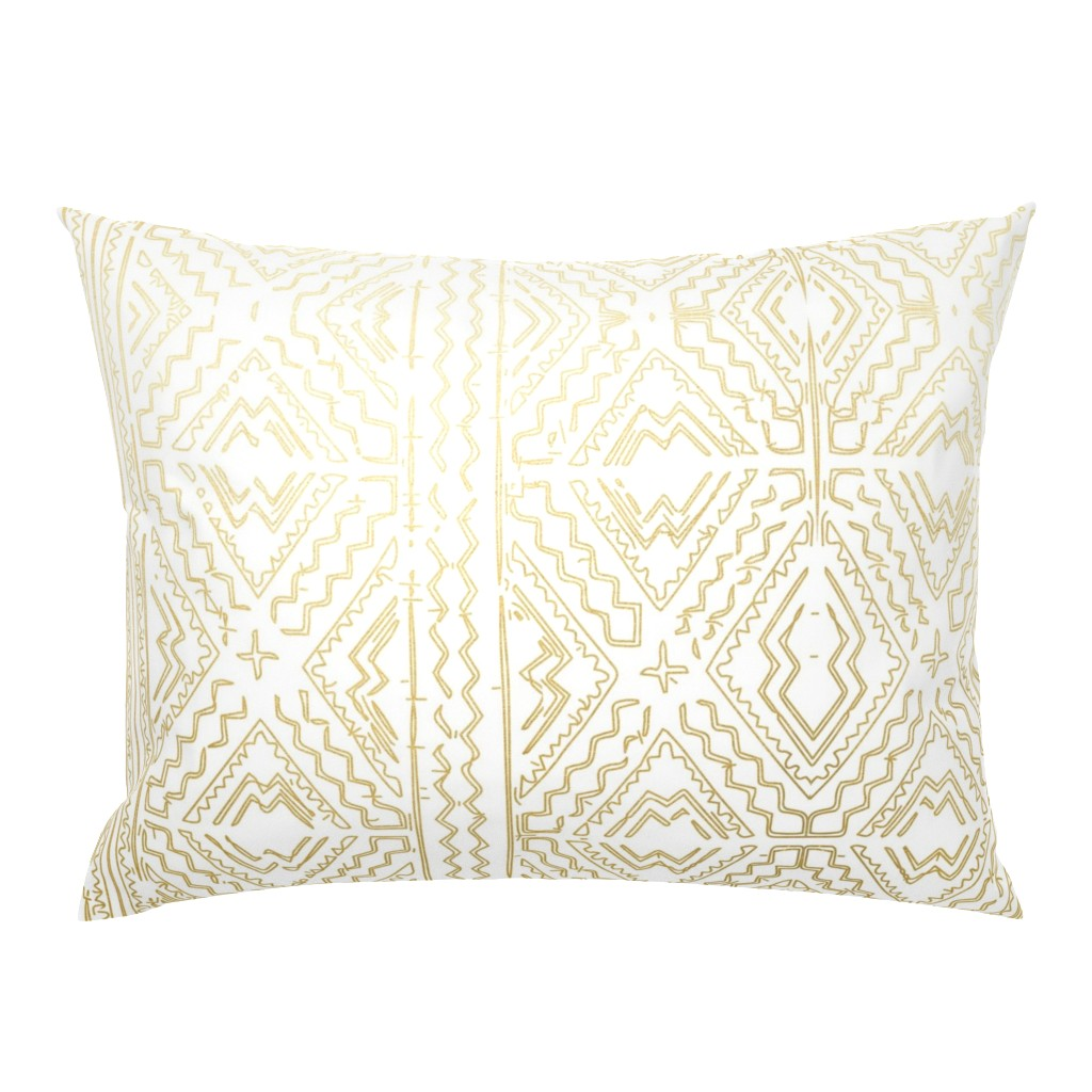 Campine Pillow Sham featuring Mud cloth in gold on white medium size by mlags