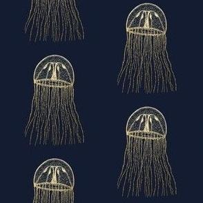 Gold jellyfish on navy