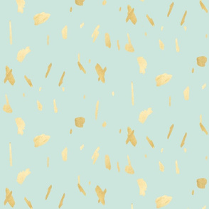 Gold paint blobs on mint