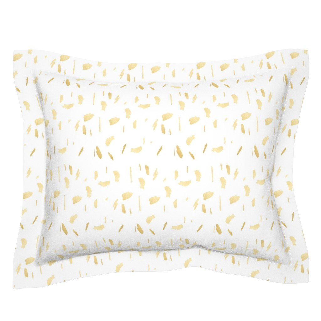 Sebright Pillow Sham featuring Gold Paint Splatter on White by mlags