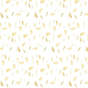 Gold Paint Splatter on White