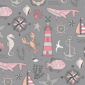 Nautical Doodle with whale,lighthouse,Anchor Pink on Dark Grey