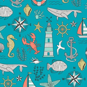 Nautical Doodle with whale,lighthouse,Anchor on Blue