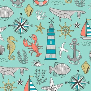 Nautical Doodle with whale,lighthouse,Anchor on Mint