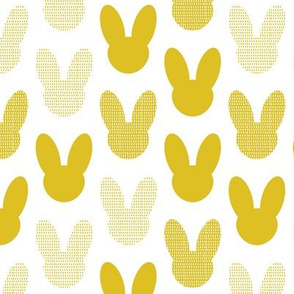 Abstract scandinavian style summer spring bunny ears in gender neutral mustard yellow