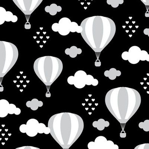 Soft pastel clouds gray black and white hot air balloon and love sky scandinavian style illustration pattern