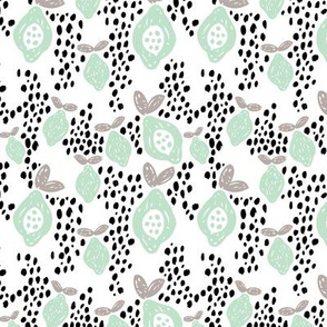Cool scandinavian abstract tropical fruit summer spring fabric mint
