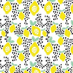 Cool scandinavian abstract topical fruit summer spring fabric green yellow