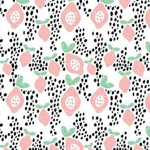 Cool scandinavian abstract topical fruit summer spring fabric mint pink