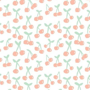 Cool scandinavian abstract cherry blossom fruit summer spring fabric mint coral peach pink