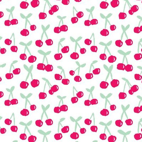 Sweet cherry blossom fruit design for summer girls and spring textiles pink mint