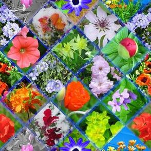Large Blue Geometric Photographic Flowers