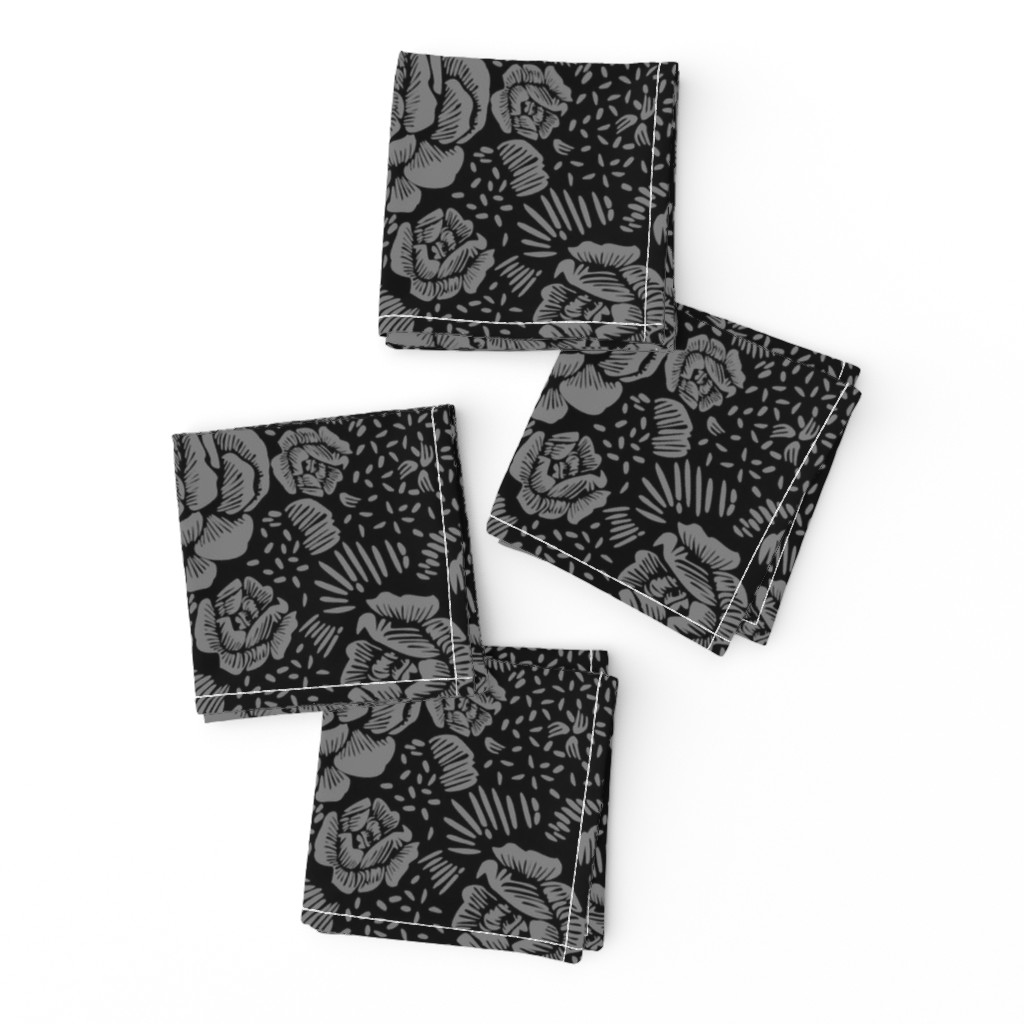 Frizzle Cocktail Napkins featuring Rose remix small - black/grey by cinneworthington