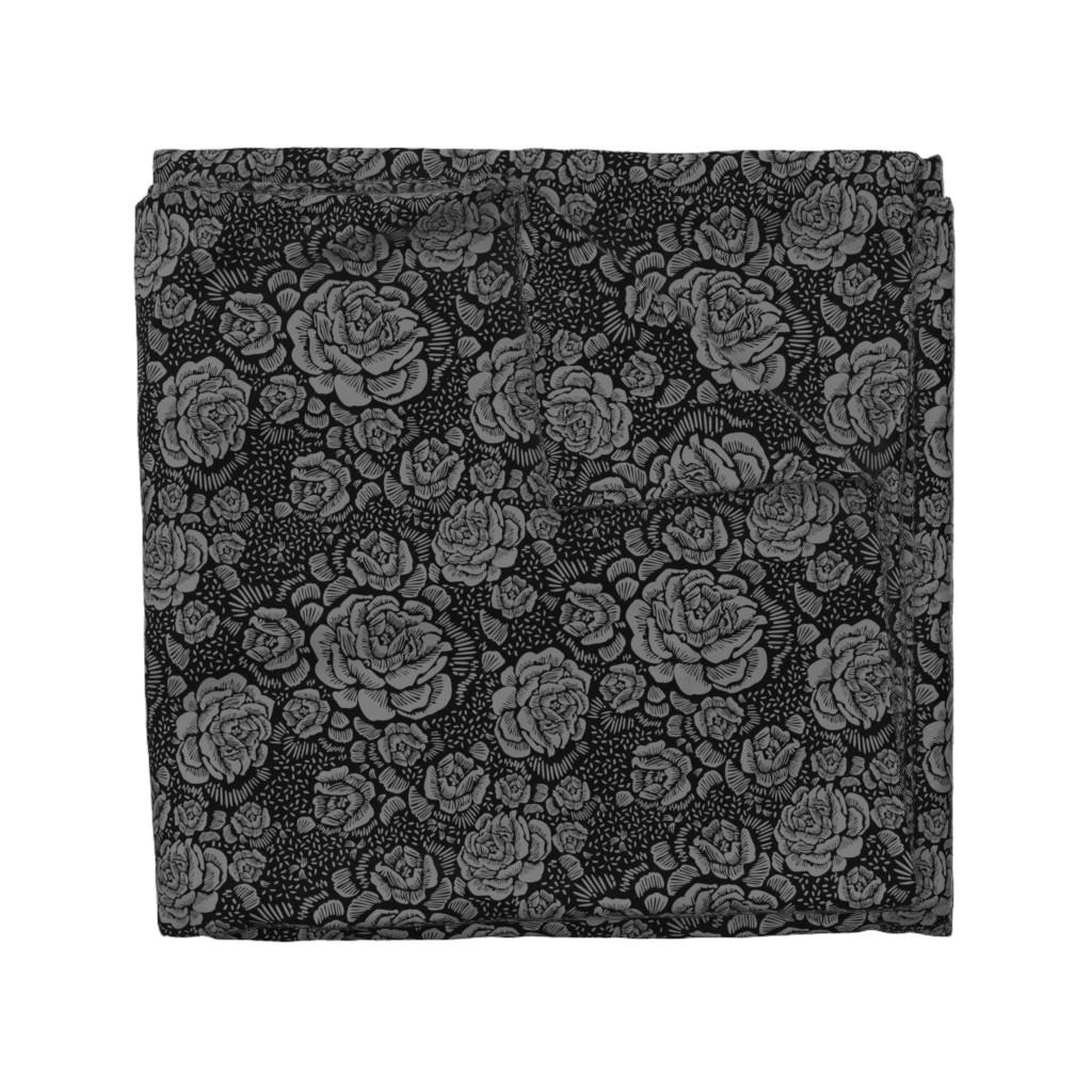 Wyandotte Duvet Cover featuring Rose remix small - black/grey by cinneworthington