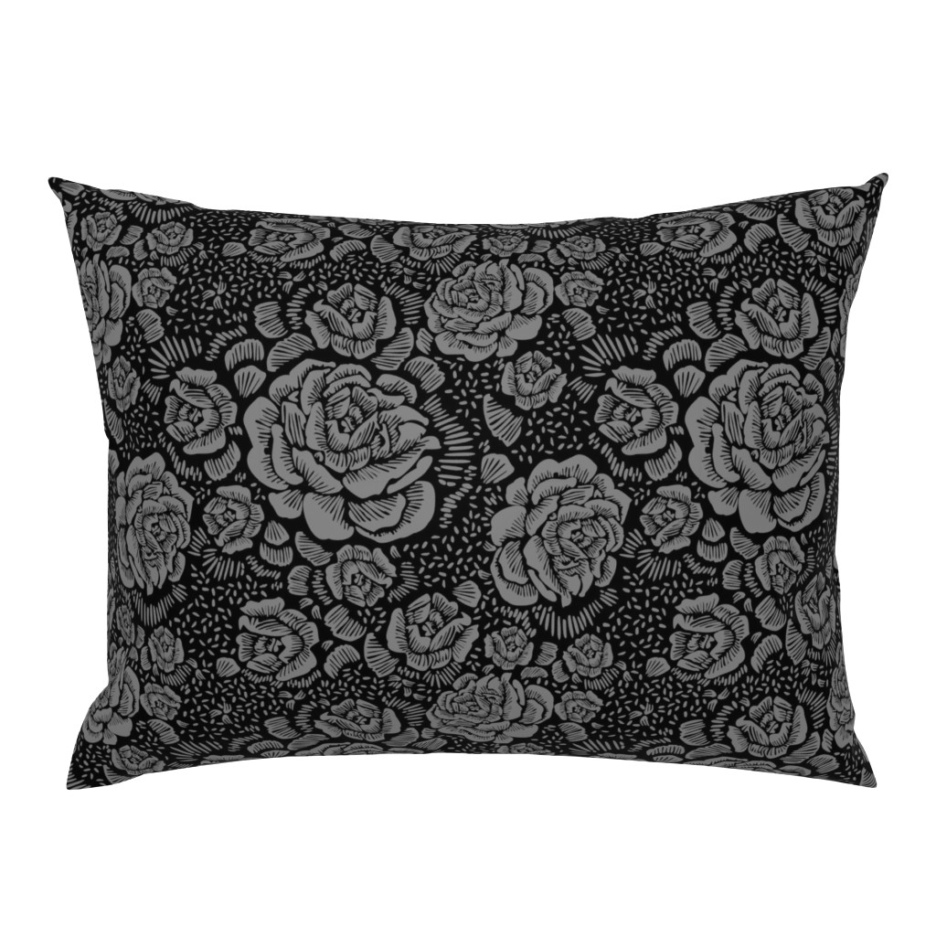 Campine Pillow Sham featuring Rose remix small - black/grey by cinneworthington