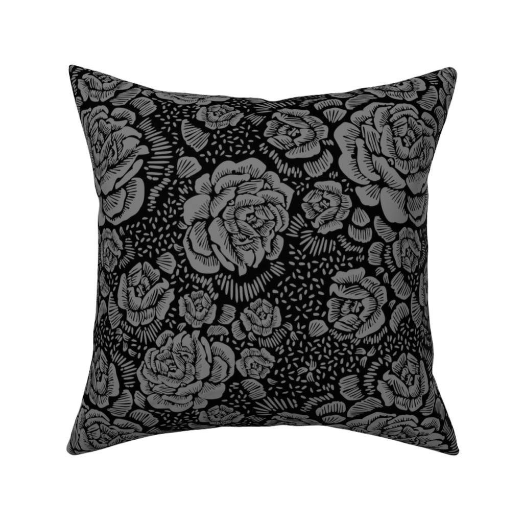 Catalan Throw Pillow featuring Rose remix small - black/grey by cinneworthington