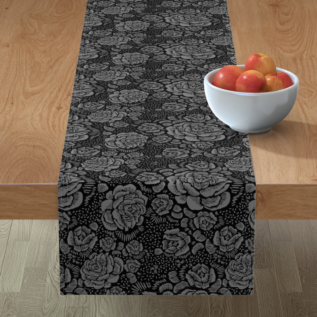 Minorca Table Runner featuring Rose remix small - black/grey by cinneworthington