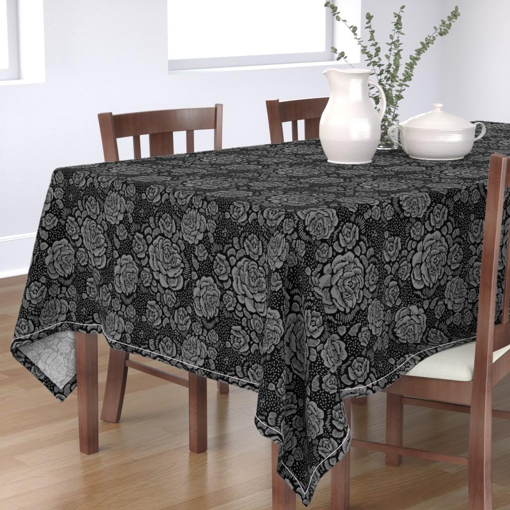 Bantam Rectangular Tablecloth featuring Rose remix small - black/grey by cinneworthington