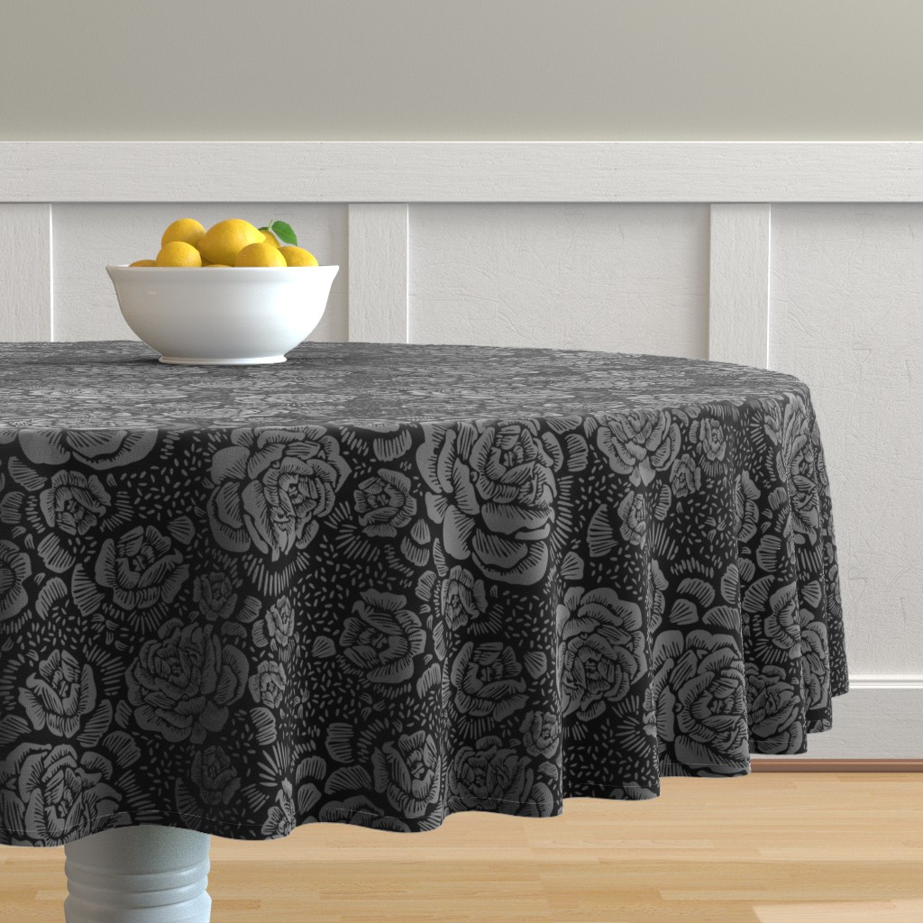 Malay Round Tablecloth featuring Rose remix small - black/grey by cinneworthington