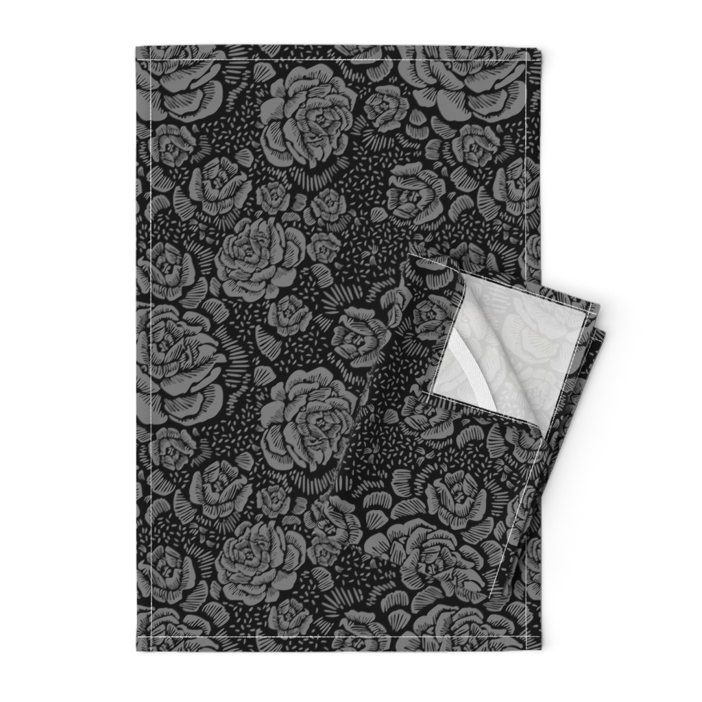 Orpington Tea Towels featuring Rose remix small - black/grey by cinneworthington