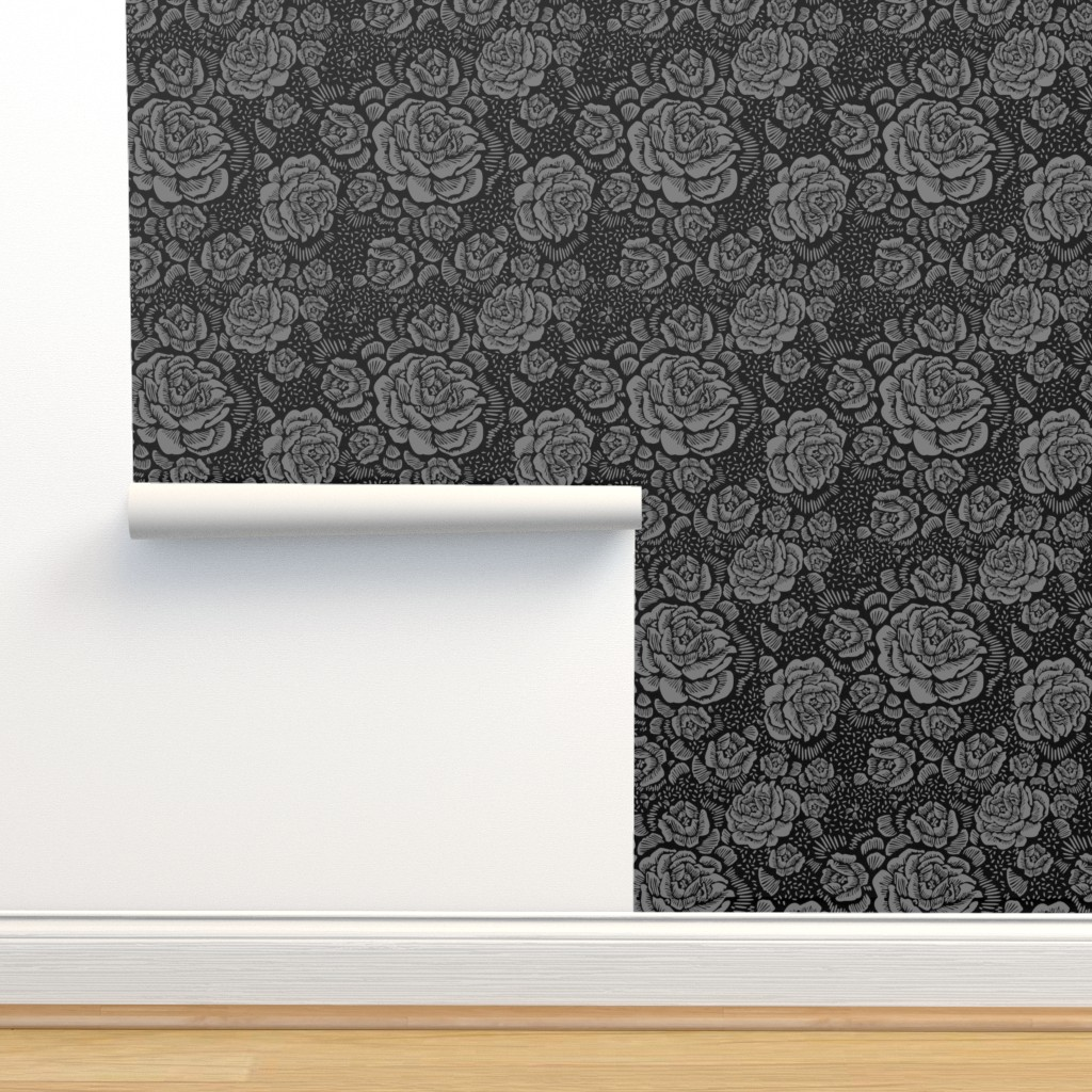 Isobar Durable Wallpaper featuring Rose remix small - black/grey by cinneworthington